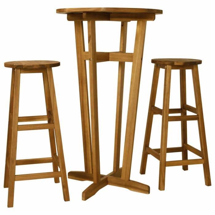 Ensemble de bar 3 pcs - 1 Table Haute 60 x 105 cm + 2 tabourets 2 personnes style contemporain - Bois d'acacia massif