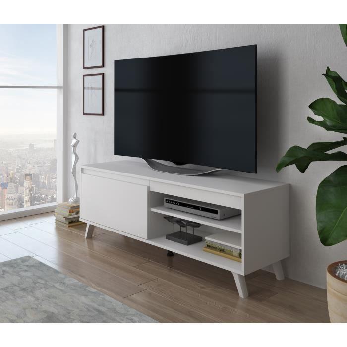 Furnix meuble tv élégant Darsi 140 cm blanc