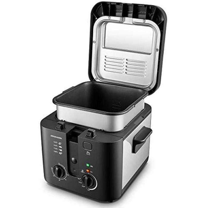Arthur Martin AMP132 1600W 2,5L pour 1Kg de Frites Capot et cuve Amovibles, paroi, 1 Kilogram, Noir ET INOX