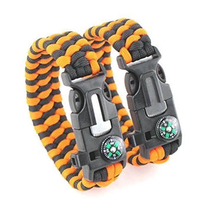 2PCS PACK Paracord Kit de Bracelet Bracelet de survie de poignet Survival Kits Avec Compass Lanceur de feu Flint Grattoir Si Aa48766