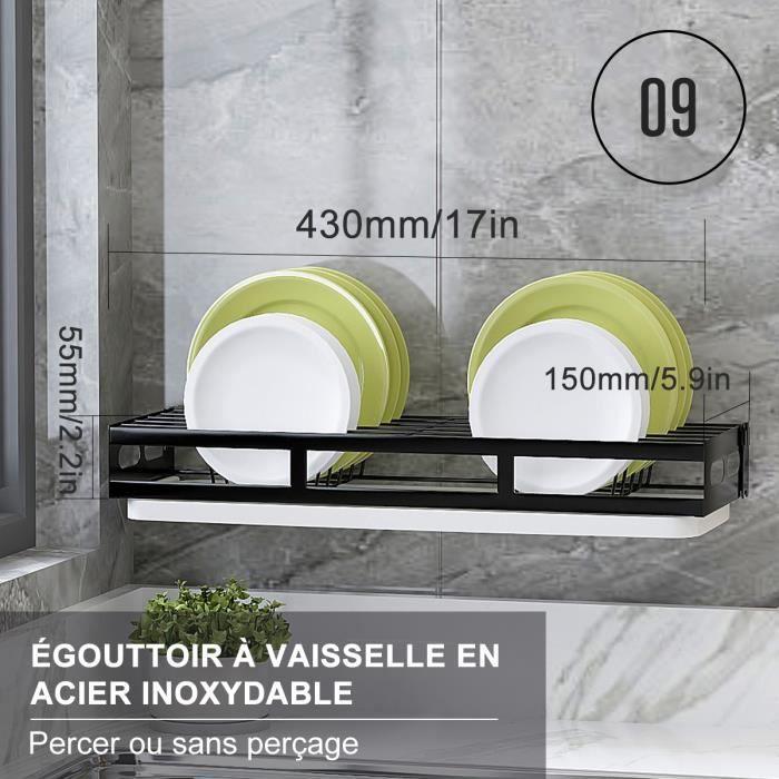 Egouttoir à vaisselle Étagère murale cuisine rangement pour Couverts Porte-Couverts plats Support de Planche à découper