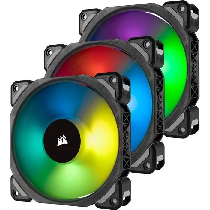 CORSAIR Ventilateur ML120 Pro RGB - Diamètre 120mm - LED RGB - Lightning Node Pro - Triple Pack (CO-9050076-WW)