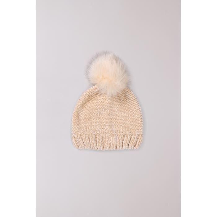 Bonnet à pompon VEGAS - Couleur - Ecru Lurex, Taille - TU