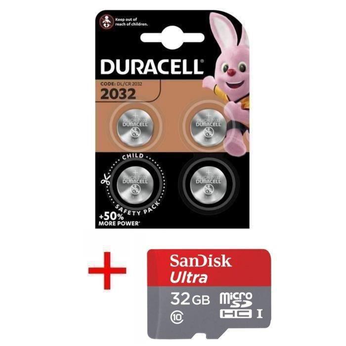 Pile CR2032 DURACELL lot de 4 piles lithium 3V CR 2032 3.0 Volts, pile plate bouton, capacité 180mAh avec étui pour Carte Bancaire