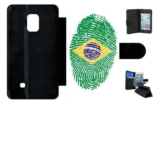 Etui a rabat - Simili-cuir - Noir Samsung Galaxy Note Edge 60 EMPREINTE DIGITALE DRAPEAU BRESIL BRAZIL