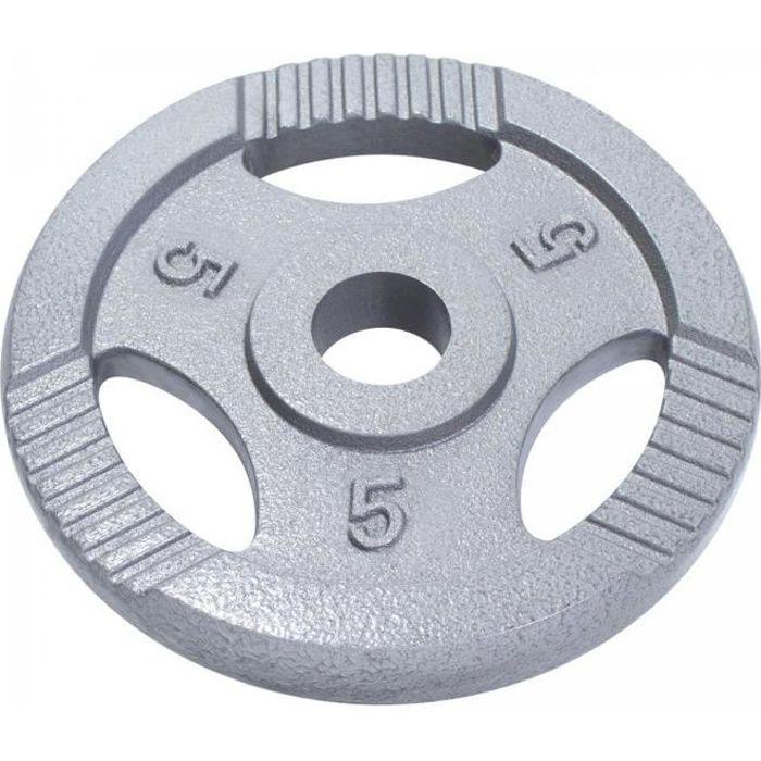 Poids olympiques en fonte avec poignées - 51 mm - Gris - 5kg