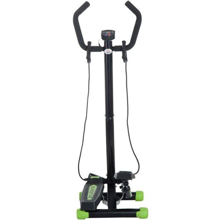 Mini stepper avec guidon, extenseurs, compteur électronique et tapis antidérapant noir et vert neuf 28