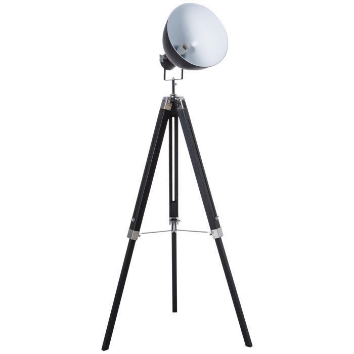 Lampadaire trépied style industriel hauteur réglable abat-jour ajustable E27 40W max. 65 x 65 x 108-152 cm bois métal noir et blanc