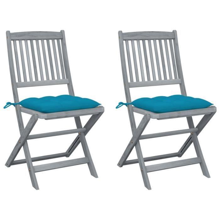 BEL Chaises pliables d'extérieur 2 pcs avec coussins Bois d'acacia # 4