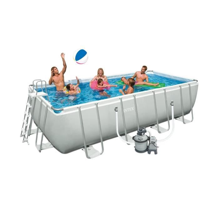 INTEX Kit Piscine rectangulaire tubulaire L4,57 x l2,74 x H1,22m