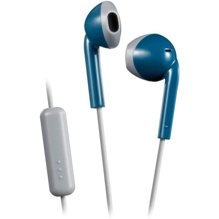 JVC HA-F19M-AH-E bleu gris Ecouteur Intra-auriculaire, microphone et télécommande, Anti-transpiration