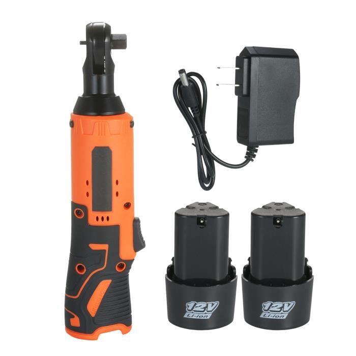 KKmoon 12V Clé à choc électrique sans fil outil à cliquet de puissance avec 2 batteries Rechargeables Prise US Rouge