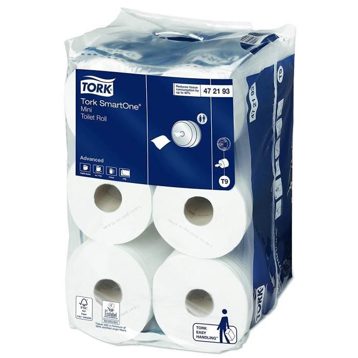 TORK 472193 Smart One Mini rouleau de papier toilette, 2 plis, Blanc (lot de 12)