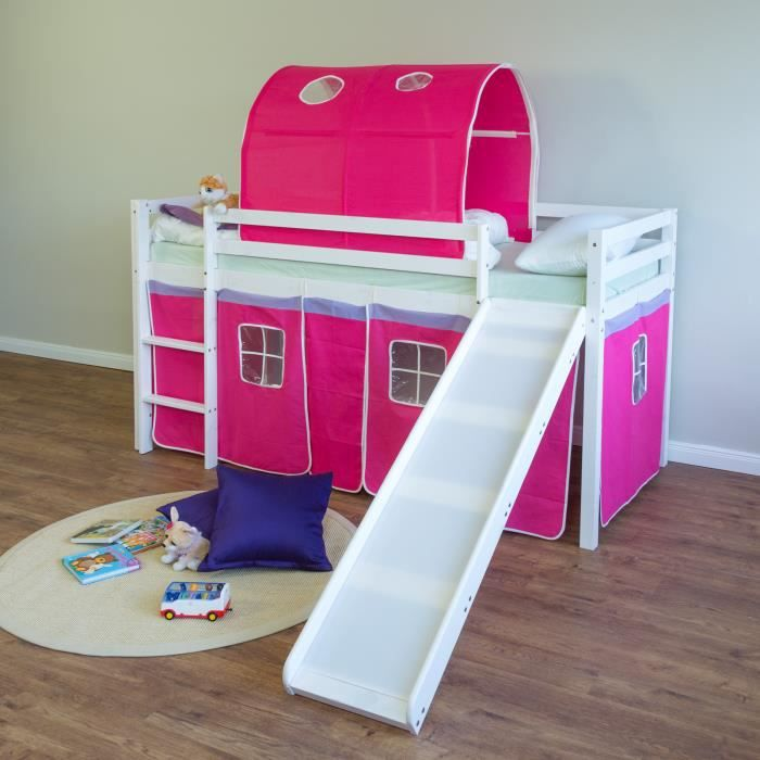 lit superpos enfant toboggan chelle et tunnel fuschia. Black Bedroom Furniture Sets. Home Design Ideas