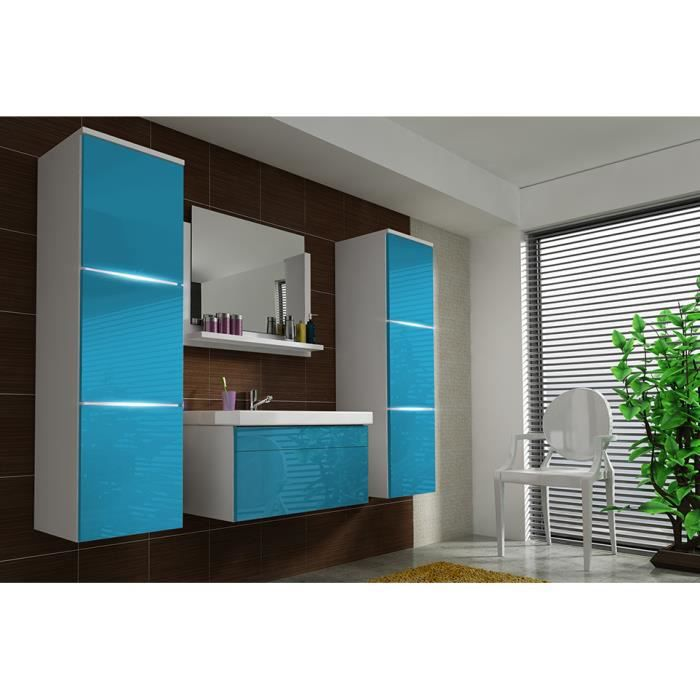 salle de bain compl te luna blanc et bleu fa ades laqu es brillantes high gloss led vasque. Black Bedroom Furniture Sets. Home Design Ideas