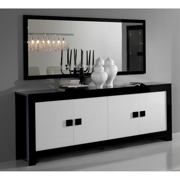 bahut 4 portes pisa bicolore noir blanc achat vente buffet bahut bahut 4 portes pisa. Black Bedroom Furniture Sets. Home Design Ideas