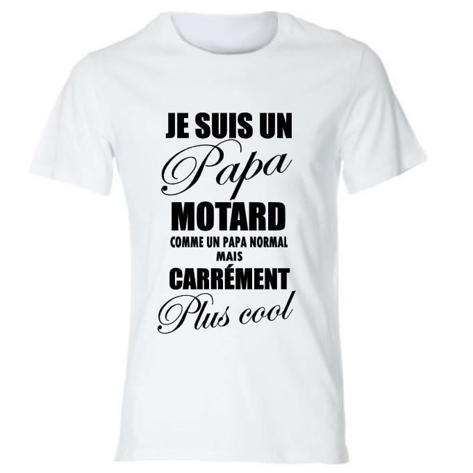 tee shirt papa motard id e cadeau f te des p res t shirt marrant fun humour blanc achat. Black Bedroom Furniture Sets. Home Design Ideas