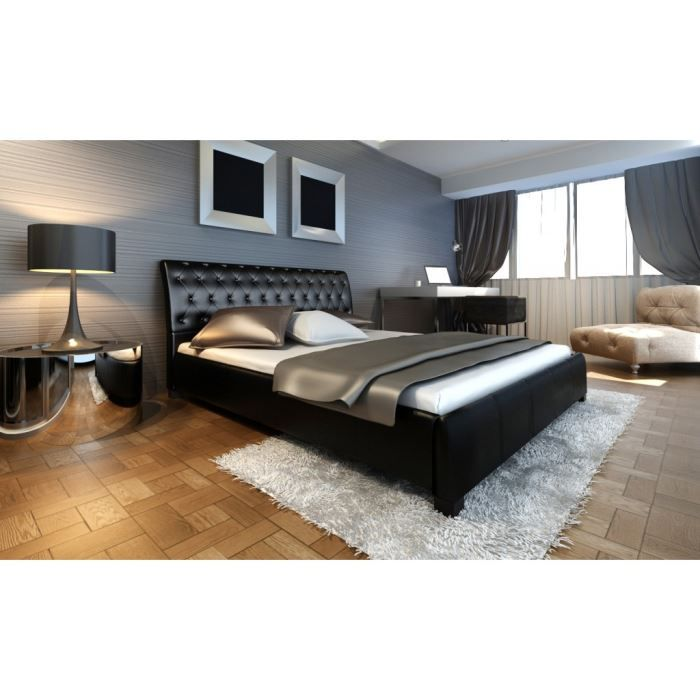 lit cuir avec sommier 180x200 achat vente lit complet lit cuir avec sommier 180 cdiscount. Black Bedroom Furniture Sets. Home Design Ideas