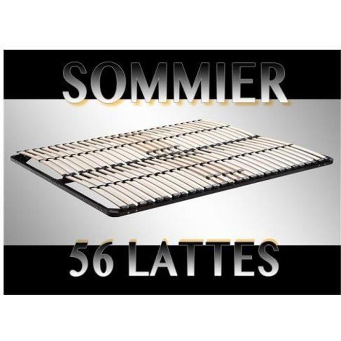 SOMMIER Sommier à lattes 140x200 Résistant acier et bois F
