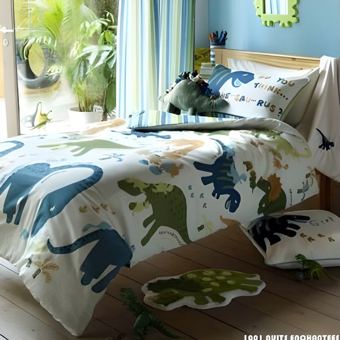parure de lit dinosaure achat vente parure de couette. Black Bedroom Furniture Sets. Home Design Ideas