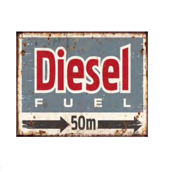 plaque d corative en m tal diesel fuel bleu d co garage. Black Bedroom Furniture Sets. Home Design Ideas