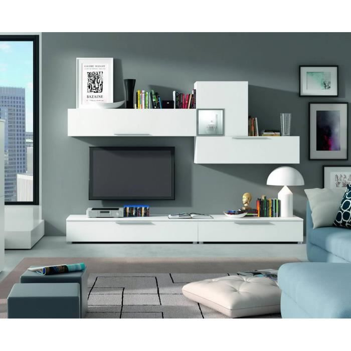 Ensemble bibliotheque meuble tv finition blanc achat for Bibliotheque meuble tv