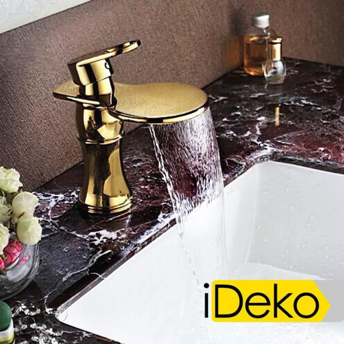 ideko robinet mitigeur lavabo cascade salle de bain dor dessin moderne flexible achat. Black Bedroom Furniture Sets. Home Design Ideas