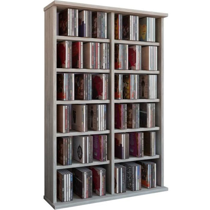 ronul tour rangement biblioth que cd dvd 300 cd sans portes sonoma ch ne achat vente. Black Bedroom Furniture Sets. Home Design Ideas