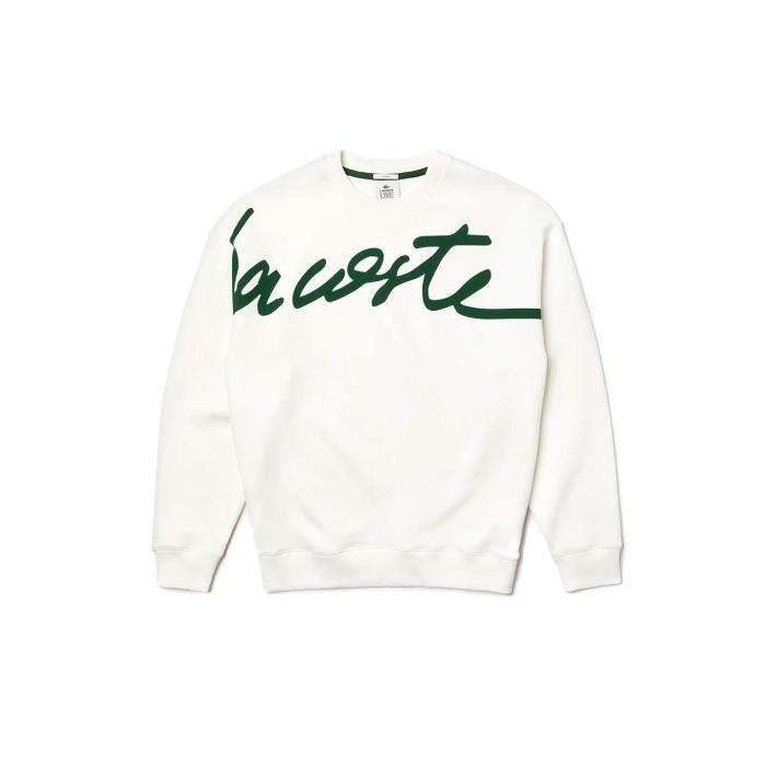 Sweat Lacoste Live Signature unisexe Blanc