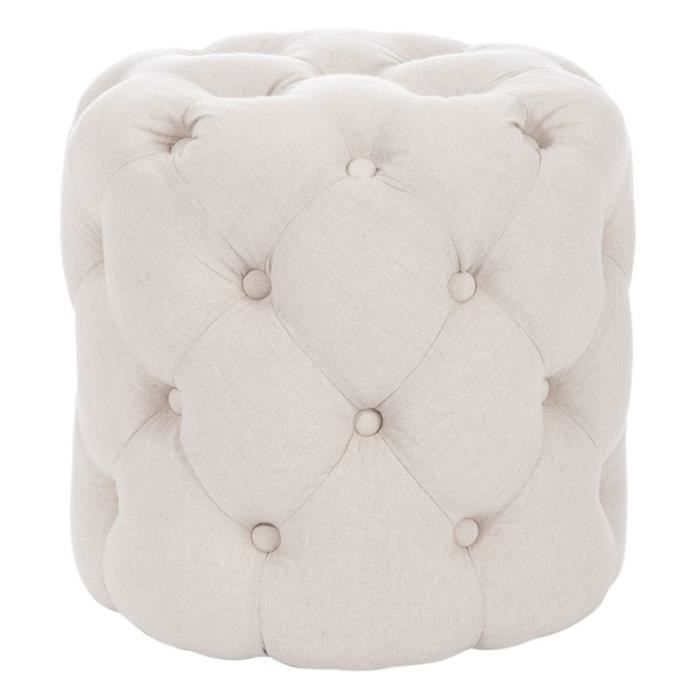 pouf rond capitonn ivoire cappy l 45 x l 45 x h 44 cm achat vente pouf poire cdiscount. Black Bedroom Furniture Sets. Home Design Ideas