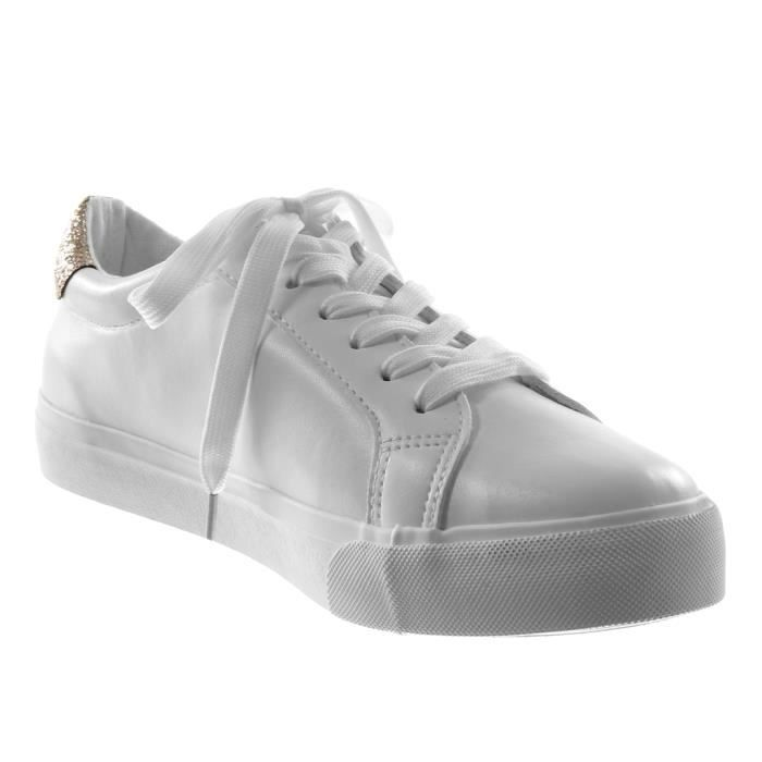 Angkorly - Chaussure Mode Baskets Sporty chic Tennis femme etoile Paillettes Talon plat 2.5 CM - Blanc rose - M891 T 35