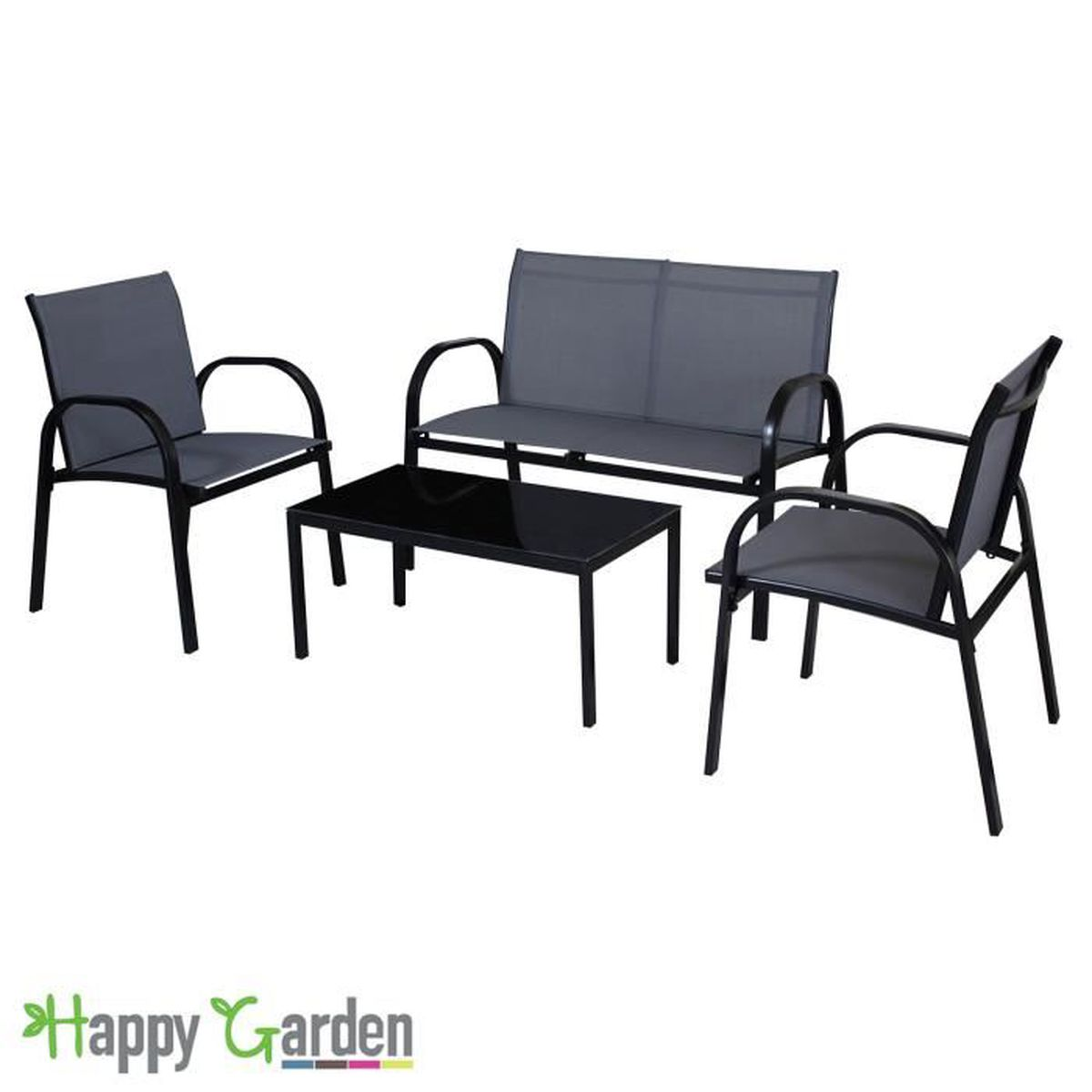 salon de jardin tenerife en textil ne gris structure noire achat vente salon de jardin. Black Bedroom Furniture Sets. Home Design Ideas
