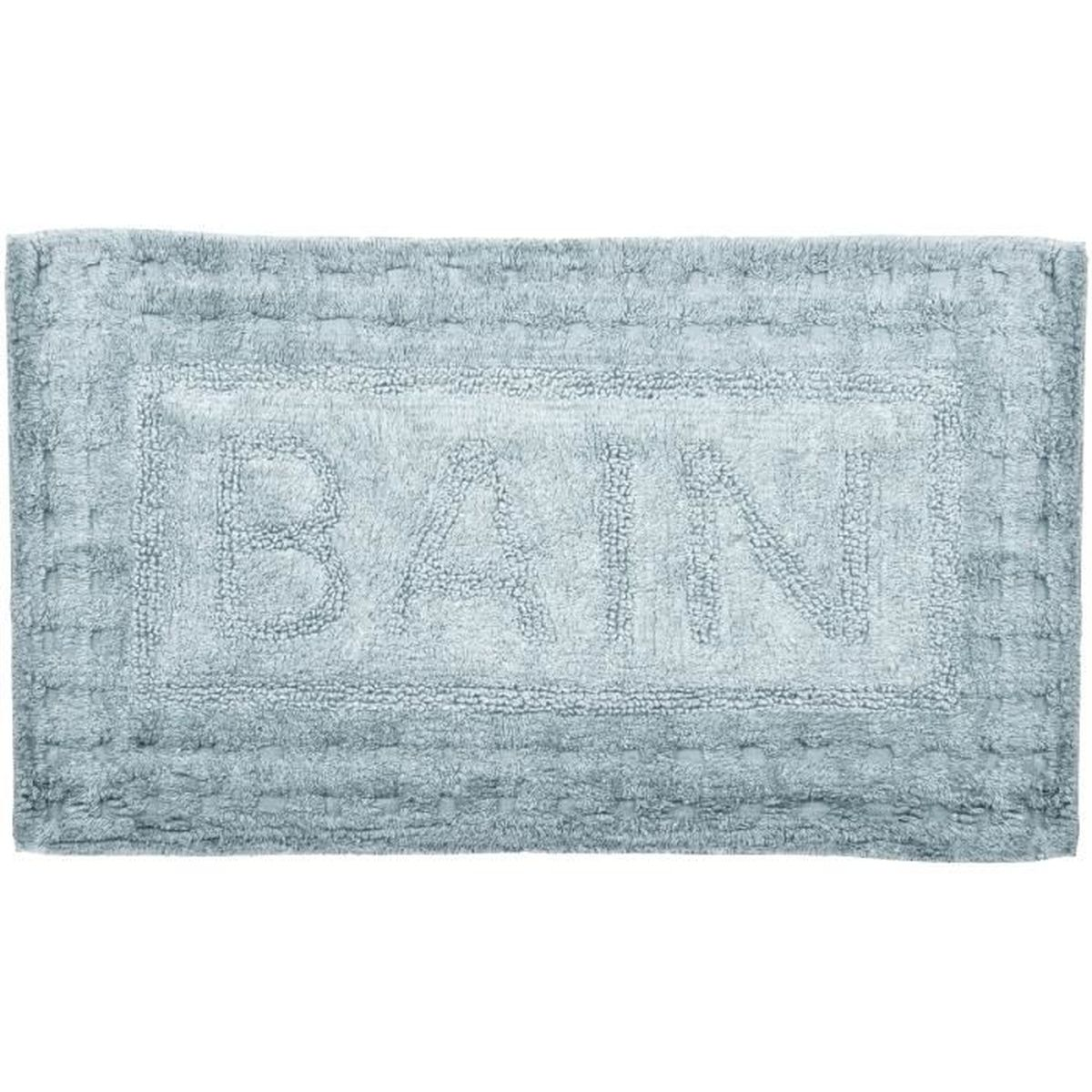 Grand Tapis De Salle De Bain En Coton Inscription Bain Cosy 45x75cm Gris