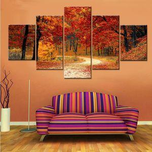 Forêt Rouge Paysage Toile Peinture Mur Moderne Art Mur