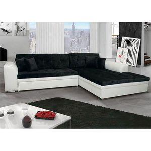 CANAPÉ - SOFA - DIVAN Canapé d'angle convertible noir et blanc MARCIA 3