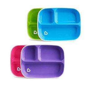 4 pi/èces bleu//vert Assiette /à 3 compartiments et bol Munchkin Splash