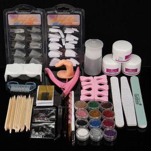 KIT FAUX ONGLES KIT Set Manucure Poudre Acrylique UV Gel Faux Ongl