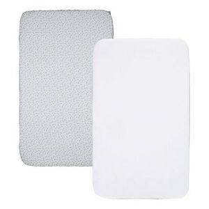 2x BLANC//2x gris étoiles blanches Drap Housse Compatible Chicco LullaGo 55x90cm