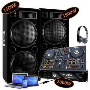 AMPLI PUISSANCE PACK SONO DJ 2 ENCEINTES 2x1500W Max + 1 AMPLI 200