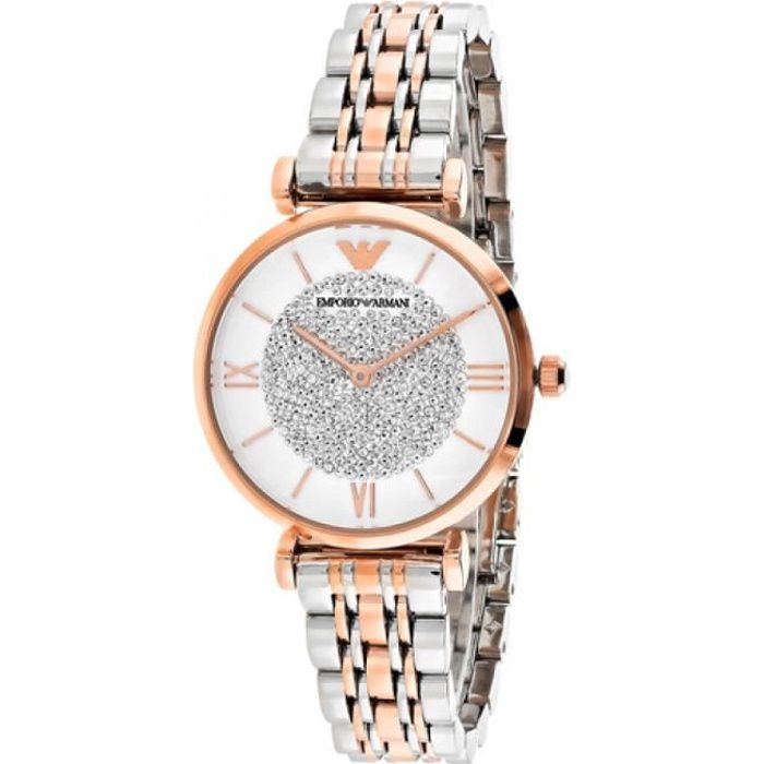 ARMANI JEANS Montre bracelet Retro AR1926 - Pour femme - Coloris : argent et or rose
