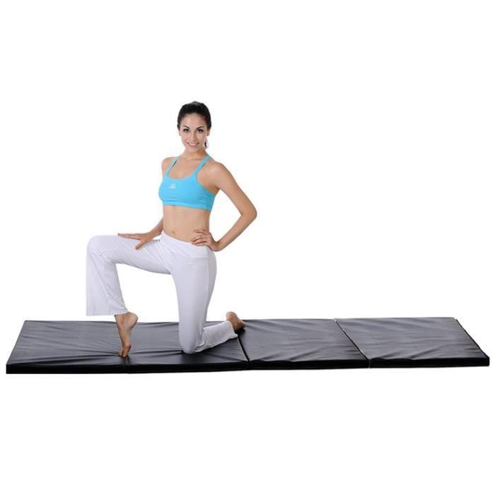 FIRNOSE 240x120x5 cm Tapis de Gymnastique Epais Tapis Sol Gymnastique Anti Derapant - Tapis Gymnastique Pliable - Noir