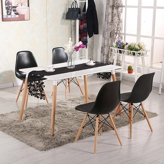 QIAN - Table de Salle à Manger Nordique pour Petit/Moyenne Appartement, Pieds de Bois massif Moderne et Simple - 110 x60 x75 cm Blan