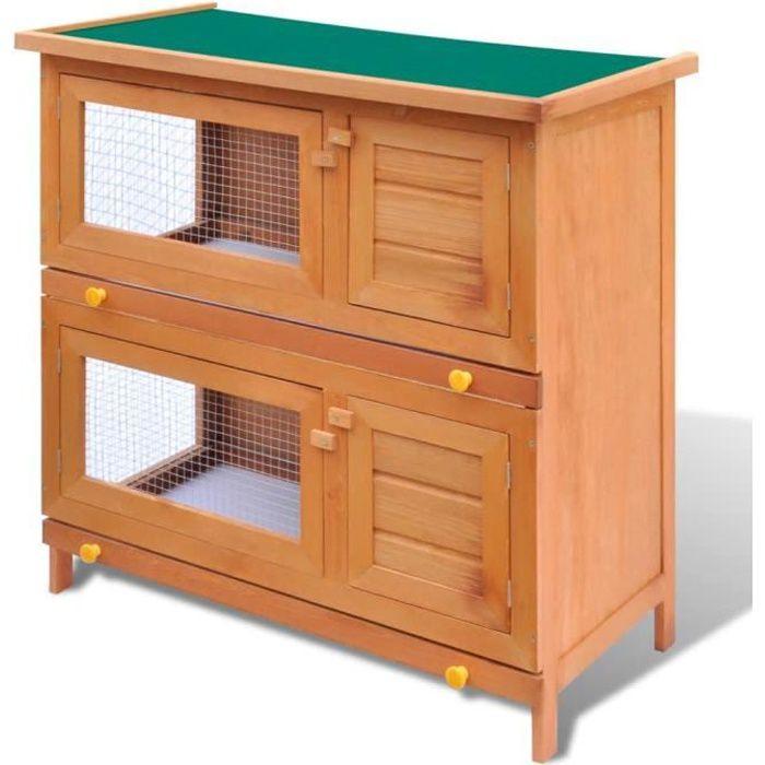 Cage Clapier Enclos lapin Extérieur en bois 4 portes 90 x 45 x 89 cm