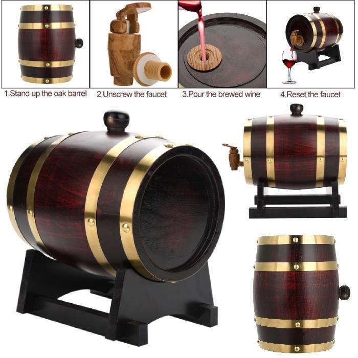 Drfeify Baril de chêne (1.5L), VIN ROUGE - ALCOOL - LIQUIDE tonneau en bois de chêne avec support pour le stockage des vins HB038