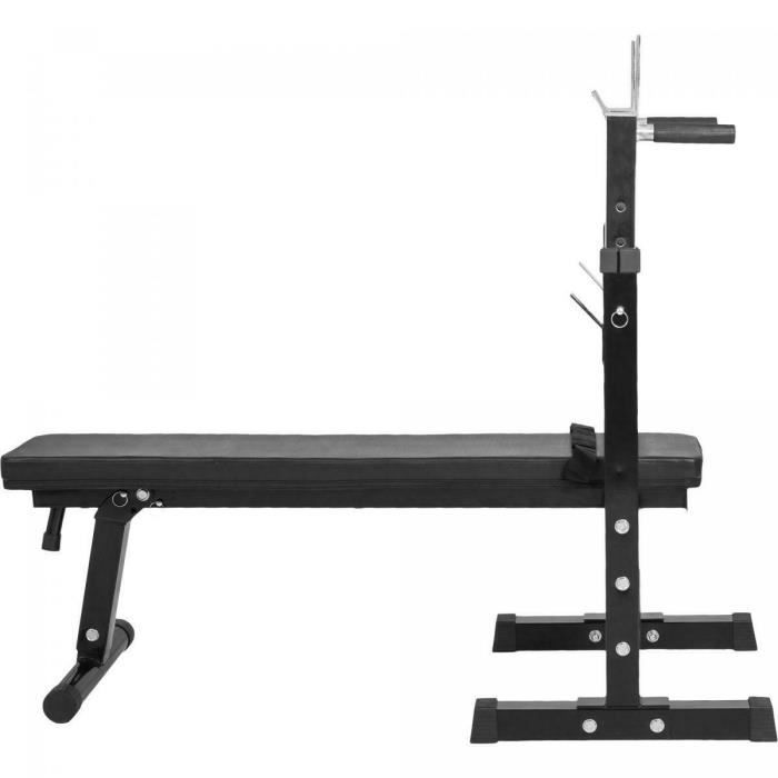 Gorilla Sports - Banc de musculation avec support de barres (Noir)