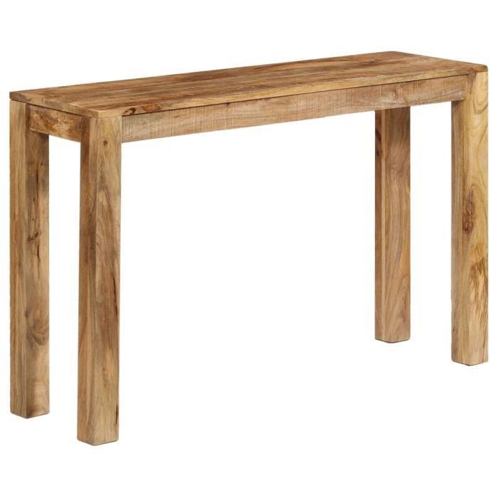 INGSHOP© Table console Bois de manguier massif 118 x 35 x 76 cm Surface polie, peinte et laquée