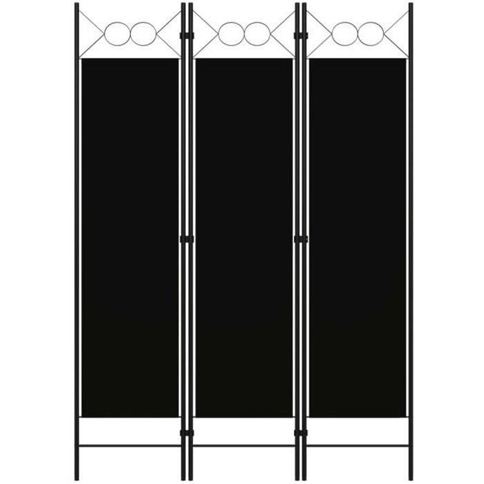NEW Luxueux Paravent Intérieur Cloison de séparation extérieur Décor - Séparation de pièces Écran de jardin 3 panneaux Noir 125966