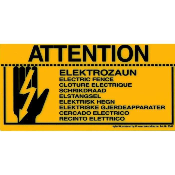 Panneau D'Avertissement - Clôture Électrique 9 Traduction - 308548 - Gr. 20 X 10 CM