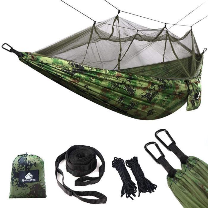 Moustiquaire Hamac Ultra-Léger De Voyage Camping - 300 Kg Capacité De Charge,(275 X 140 Cm) Respirante, Nylon- 2 X Mousquetons De