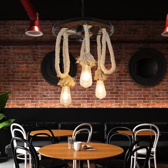 Yote Lustre Suspension en Métal Lampe Suspension en Corde de Chanvre Vintage pour Salon Chambre
